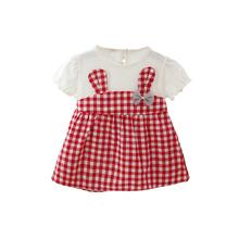 GloryStar Toddler Short Sleeves Dress with Button Baby Girls Plaid Skirt with Bow Decorated girls bow decorated headband