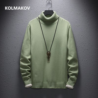 Кашемировый мужской свитер, повседневный модный мужской свитер с высоким воротом, высокое качество, теплая вязаная рубашка, шерстяной пуло...
