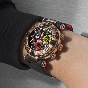 Image 3 - Reef Tiger/RT relojes deportivos para hombre, cronógrafo rosa, mecanismo a la vista dorado, resistente al agua, masculino, RGA3059 S