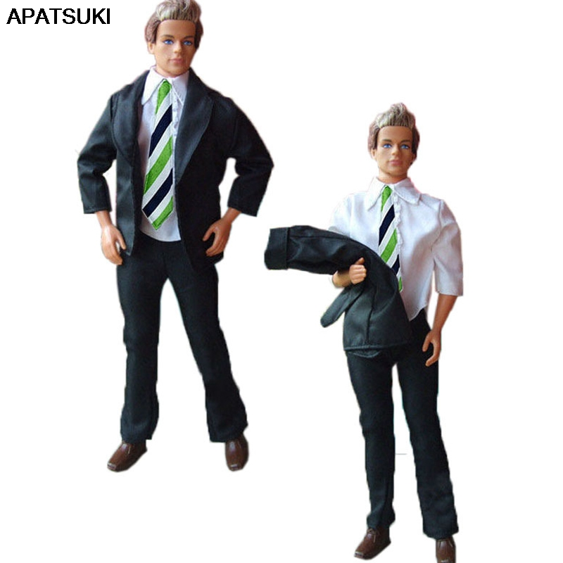 1Set High Quality Formal Business Suit For Ken Boy Doll Outfits White Tops + Long Pant Coats Clothes For Barbie's Boyfriend  Ken