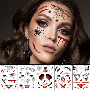 halloween zombie scar temporary tattoo women halloween stickers face sexy tattoo sticker vampire waterproof fake tatoo boys kids(China)