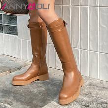 Высокие женские сапоги до колена annymoli из натуральной кожи