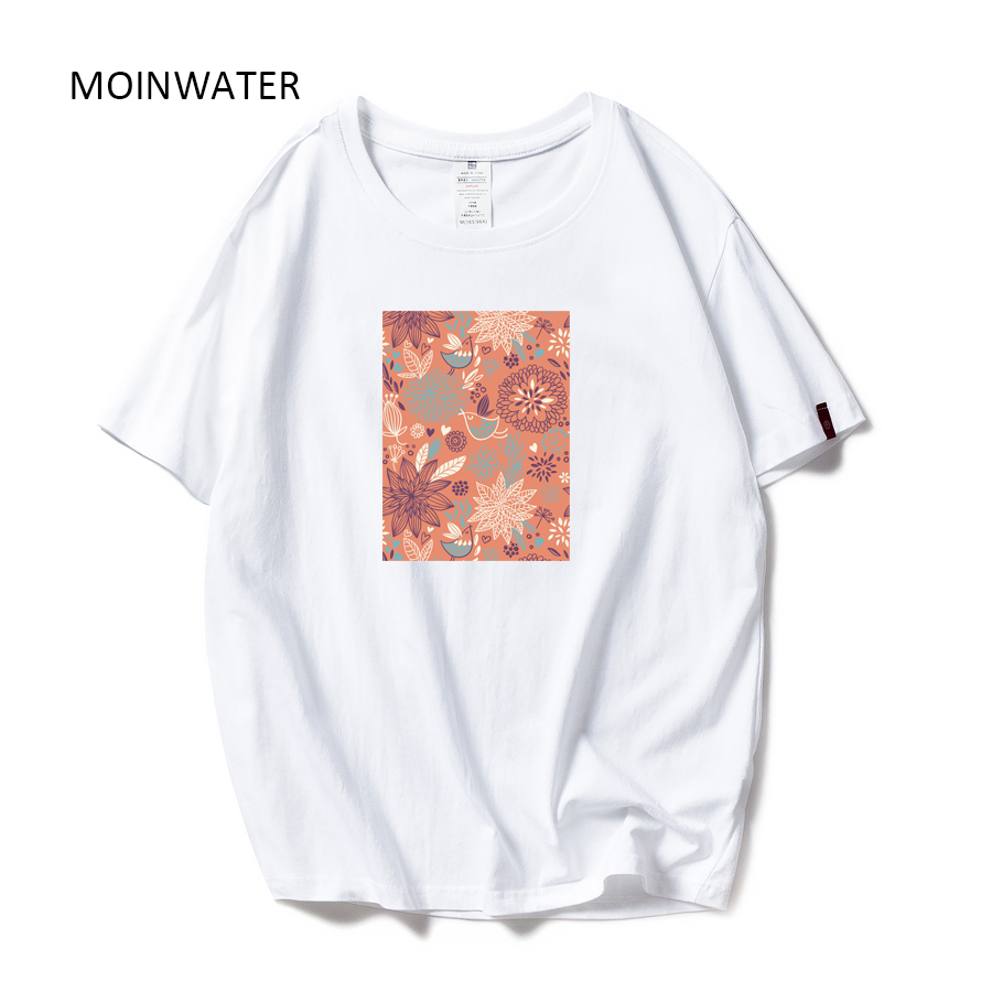 MOINWATER Women Fashion Cotton Tshirts Women Casual O-neck Tees Short Sleeve Female Comfortable White Black T-shirt Tops MT1985