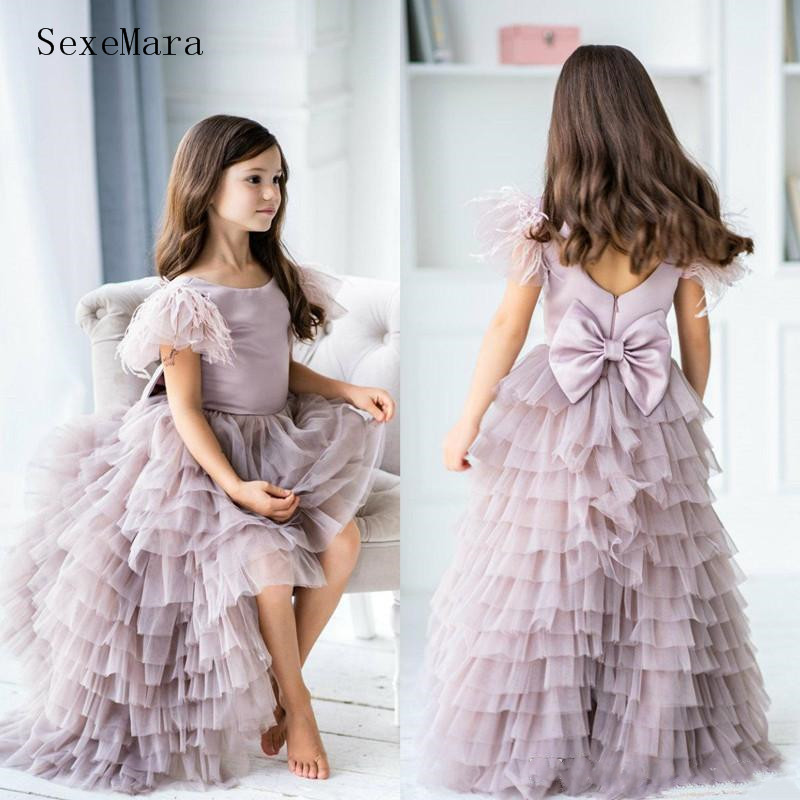 Custom Little Girl Birthday Party Dress Pageant Gown High Low Puffy Tiered Gown with Feather Flower Girl Dress