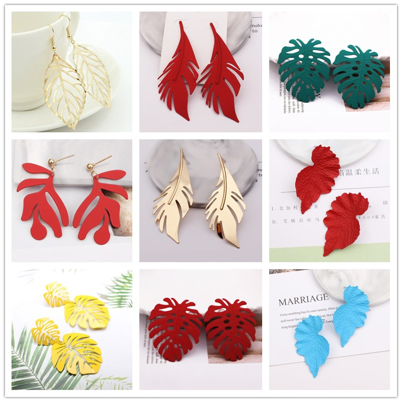 Bohemia Big Leaves Pendant Earrings For Women New Design Fashion Metal Leaf Earrings Wedding  Jewelry Exaggerated Christmas Gift