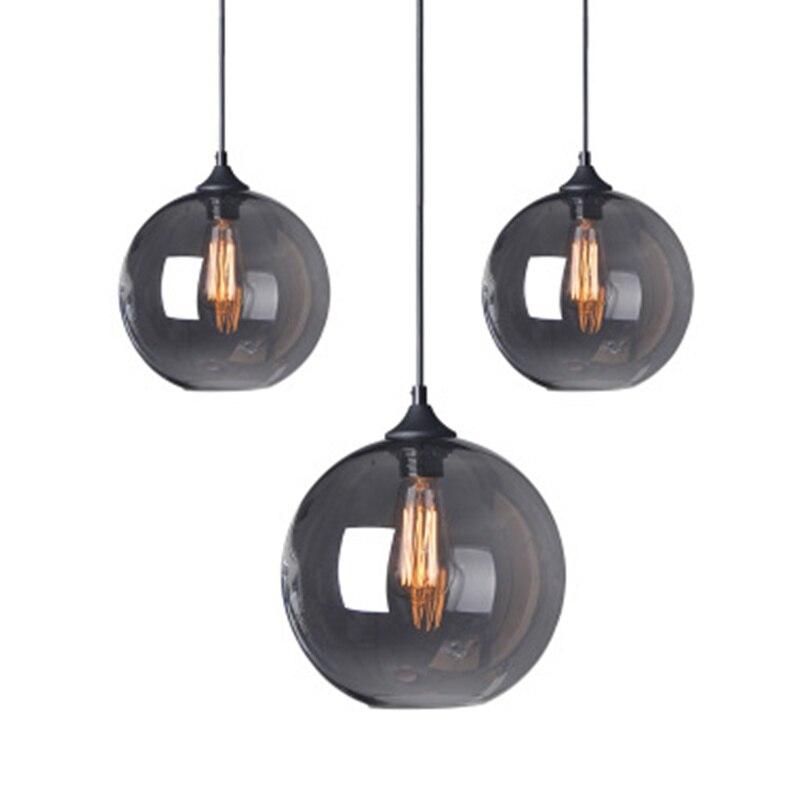 Nordic 6 Colors Round Ball Glass Pendant Lamp Retro Industrial Wind E27 Pendant Light For Kitchen Restaurant Bar Apartment Cafe|glass lampshades|pendant lamp|pendant lights - title=