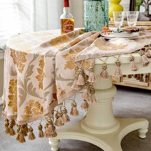 Image 4 - European style Luxury jacquard Tablecloth With Tassel for Wedding Birthday Party Round Table Cover Desk Cloth for home decor