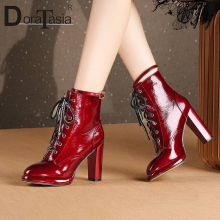 DORATASIA New Brand Luxury Patent Genuine Leather Ladies High Heels Lace Up Shoes Woman Party Office Sexy Ankle Boots Women