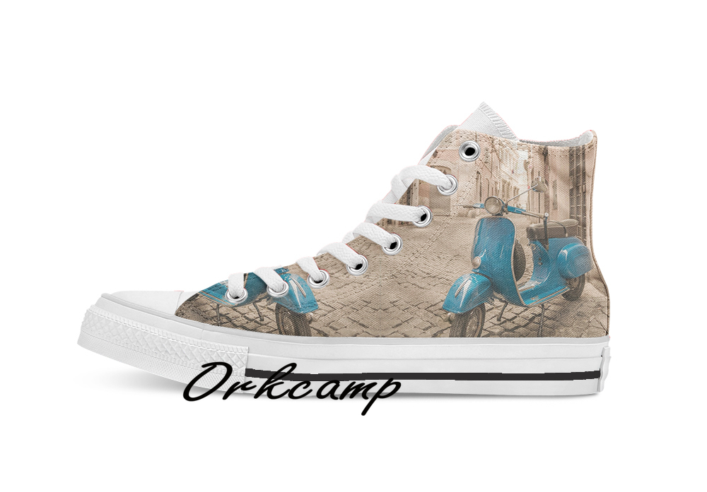 Vespa  Custom Casual High Top Lace-up Canvas Shoes Sneakers Drop Shipping