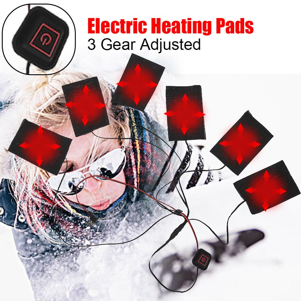 1 Set USB Electric Heated Jacket Heating Pad 6-in-1 Outdoor Hiking Themal Warm Winter Heating Vest Pads For DIY Heated Clothing