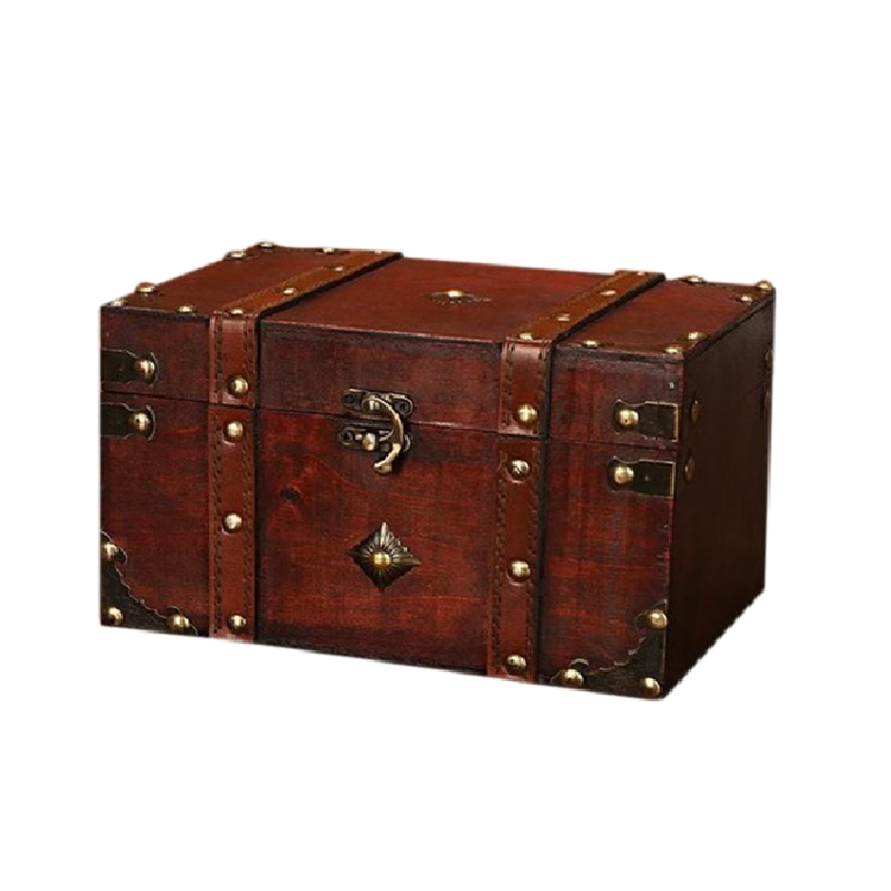 Retro Treasure Chest Vintage Wooden Storage Box Antique Style Jewelry Organizer For Jewelry Box Trinket Box