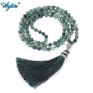 Image 2 - Ayliss 6mm Natürliche Rhodochrosit/Moss Karneol Quasten Halskette 108 Perlen Buddhistischen Gebet Tibetischen Mala Multilayer Wrap Armband