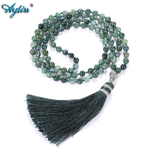 Image 2 - Ayliss 6mm Natural Rhodochrosite/Moss Carnelian Tassels Necklace 108 Beads Buddhist Prayer Tibetan Mala Multilayer Wrap Bracelet