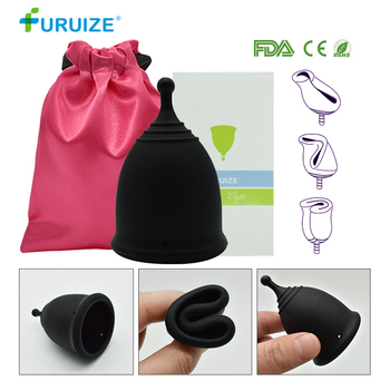 XS Black menstrual Cup Feminine Hygiene Copa Menstrual Cup Medical Grade Silicone Health Care Cup Copa menstrual Lady Cup reusable soft cup silicone menstrual cup big and small sizes three colors women hygiene health care supplies