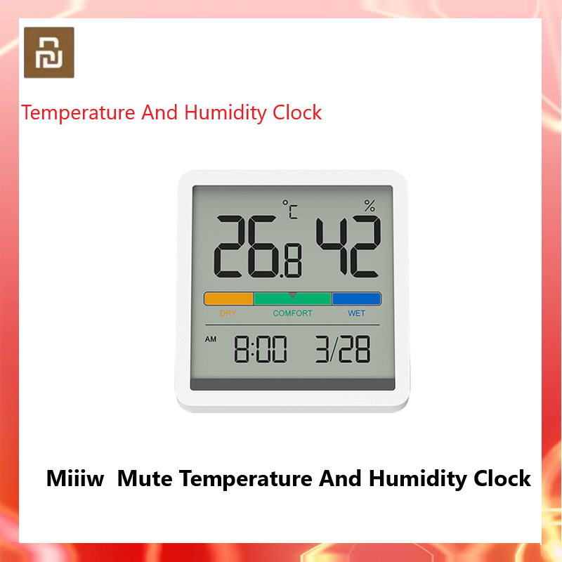 Xiaomi Mute Temperature And Humidity Clock Home Indoor High-precision Baby Room C/F Temperature Monitor 3.34inch Huge LCD Screen