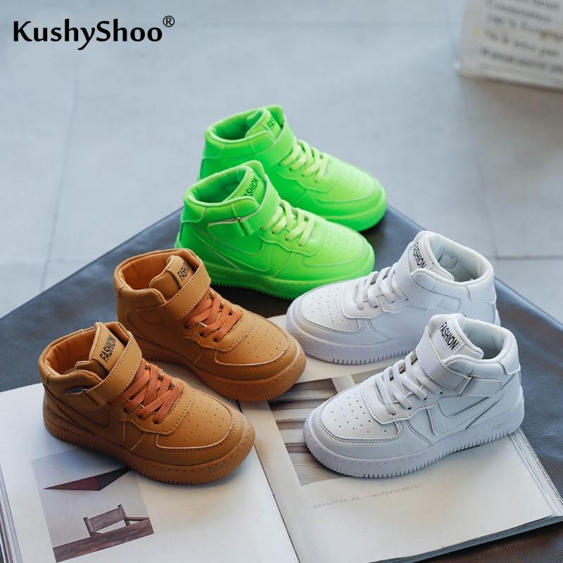 Kushyshoo dziecięce buty 2021 wiosna moda jednolity kolor Hook & Loop All-match platforma trampki oddychające buty do biegania
