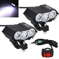 2 pçs 30 w 4000lm 3x xm l t6 led farol da motocicleta ponto trabalho luz offroad condução luz de nevoeiro lâmpada com interruptor|  -