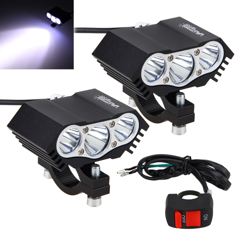2PCS 30W 4000LM 3x XM-L T6 LED Headlight Motorcycle Spot Work Light Offroad Driving Fog Light Lamp With Switch