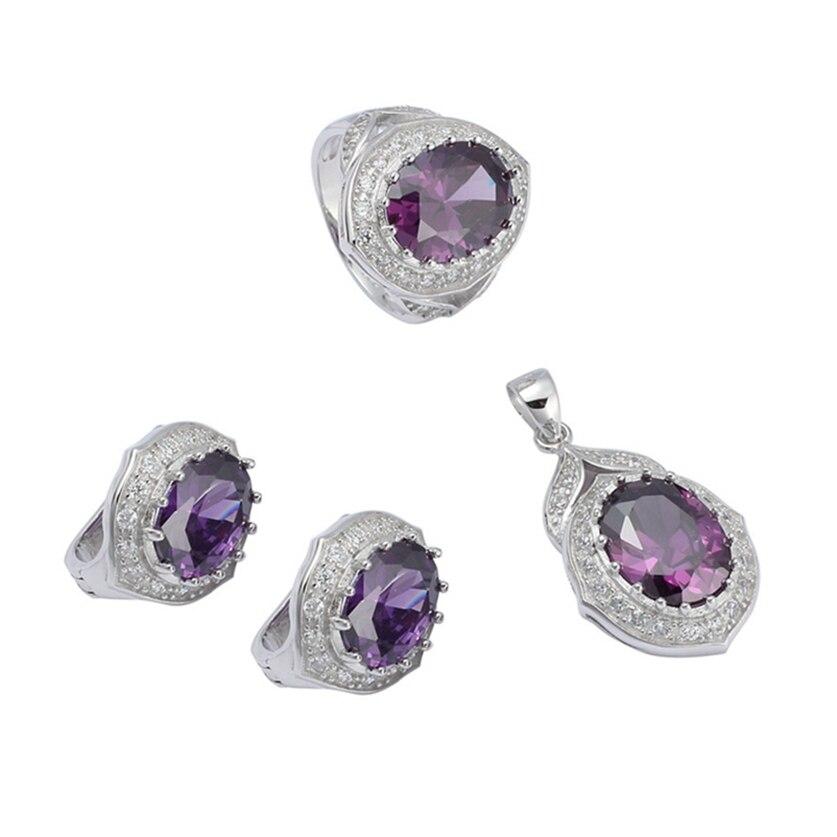 Eulonvan Charm 925 en argent sterling femmes fiançailles ensembles de bijoux de mariage (bague/boucle d'oreille/pendentif) violet zircon cubique S-3752set