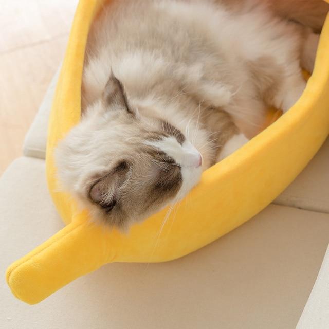 Panier Chat en forme de Banane jaune avec chat
