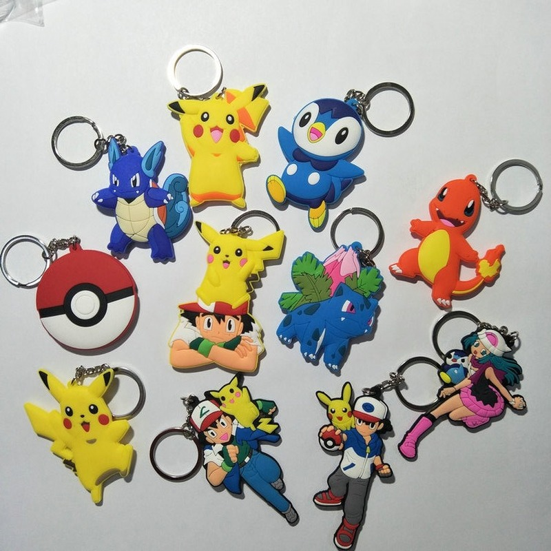 Pokemon Key Chain PVC Anime Kids Keyring Woman Keychain Man Key Ring Girl Cartoon Cute Sleutelhanger Charmander Bulbasaur Piplup