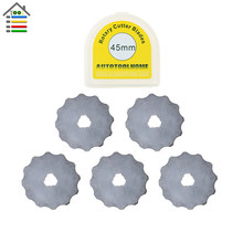 AUTOTOOLHOME 5 pack 45 mm Rotary Crochet Edge Skip Blades with Storage Case Fits Olfa Fiskars Rotary Cutter Skip Stitch Blade(China)