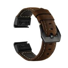 26mm Luxury Genuine Leather Strap Band For Garmin Fenix 5x 5xPlus 3 3HR GPS Smart Watch Quick Release Fit Man Replacement