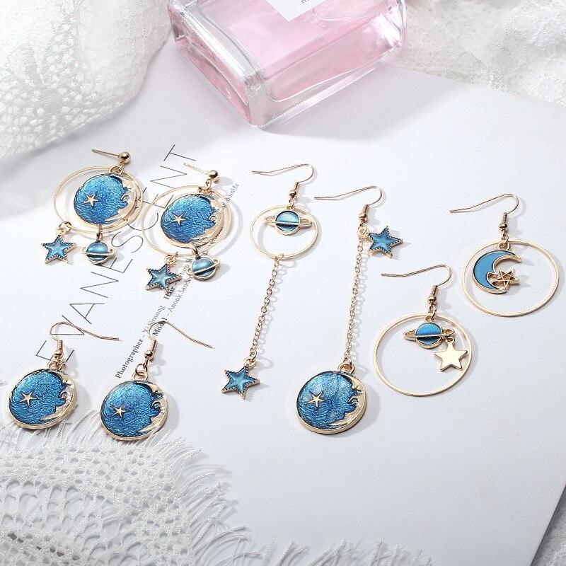 Women Earrings Korean Version Of The Blue Starry Planet Series Pendant Long Tassel Asymmetrical Earrings Ladies Fashion Jewelry