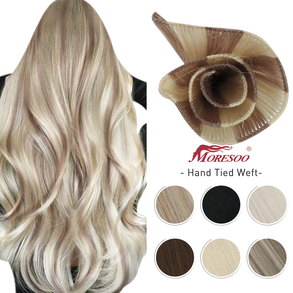 10A Hand Tied Weft Hair Extensions 100% Virgin Human Hair Silky Straight Invisible Brazilian Blonde Sew in Bundles Handmade