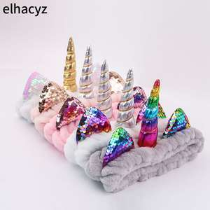 2020 New Fashion Unicorn Headband Soft Elastic Hair Band for Women Girls Wash Face Headwear
