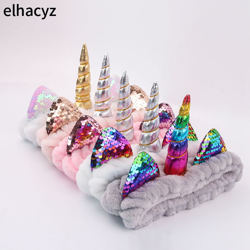 2020 New Fashion Unicorn Headband Soft Elastic Hair Band For Women Girls Wash Face Headwear Makeup Headband Hair Accessories
