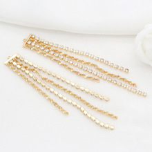 4PCS 80x11MM Hole 1MM 24K Gold Color Brass with Zircon Chain