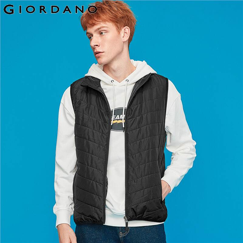Giordano Men Jackets Stand Collar Sleeveless Quilted Veste Homme Double Pocket Zipper Fly Warm Chamarra Hombre 01079724