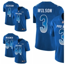 Сиэтл Мужская молодежная Женская Bobby Wagner Russell Wilson Limited футбольная Джерси Seahawks Королевский синий NFC Pro чаша