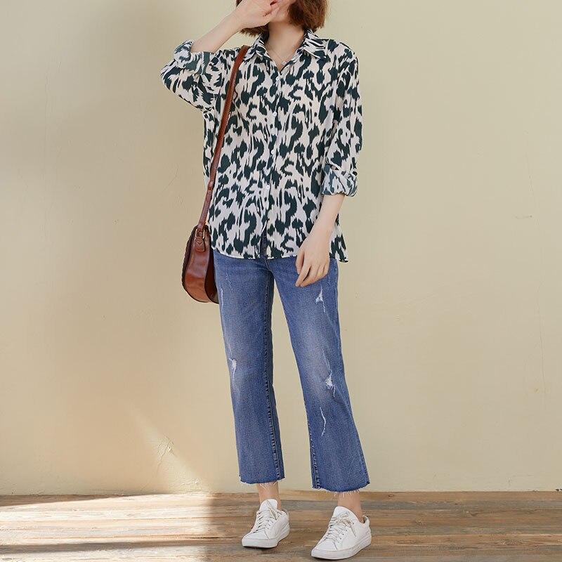 DIMANAF 2020 Plus Size Women Blouse Shirt Female Lady Show Thin Chiffon Leopard Print Elegant Basic Long Sleeve Women's Clothing