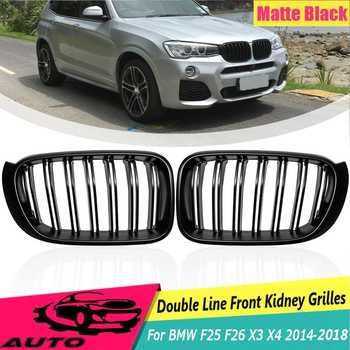 Car Front Grill For BMW F25 F26 X3 X4 2014 2015 2016 2017 2018 Car Styling Gloss Matt Black M Color 2 Slat Line  Replacement