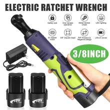 Cordless Electric Ratchet Wrench 18V Ratchet Wrench Set 3/8'' Electric Wrench Screwdriver Car Repair Power Tool with 1/2 Battery
