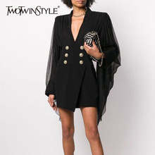 TWOTWINSTYLE Elegant Patchwork Mesh Women Dress V Neck Flare Sleeve Side Split H