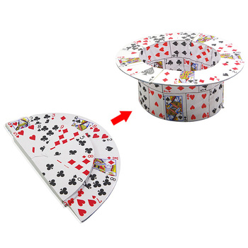 Folding CARD FAN To Card Top Hat Spring Magic Tricks Magician Stage Street Illusions Gimmick Prop Comedy trucos de magia
