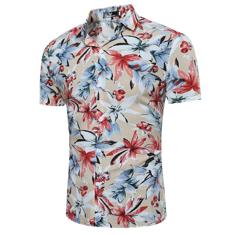 ZOGAA Men Slim Shirts Plaid Dress Mens Shirt Casual Fashion Beach Short Sleeve Flower Shirt  Street Wear Plus Size S-3XL Shirt