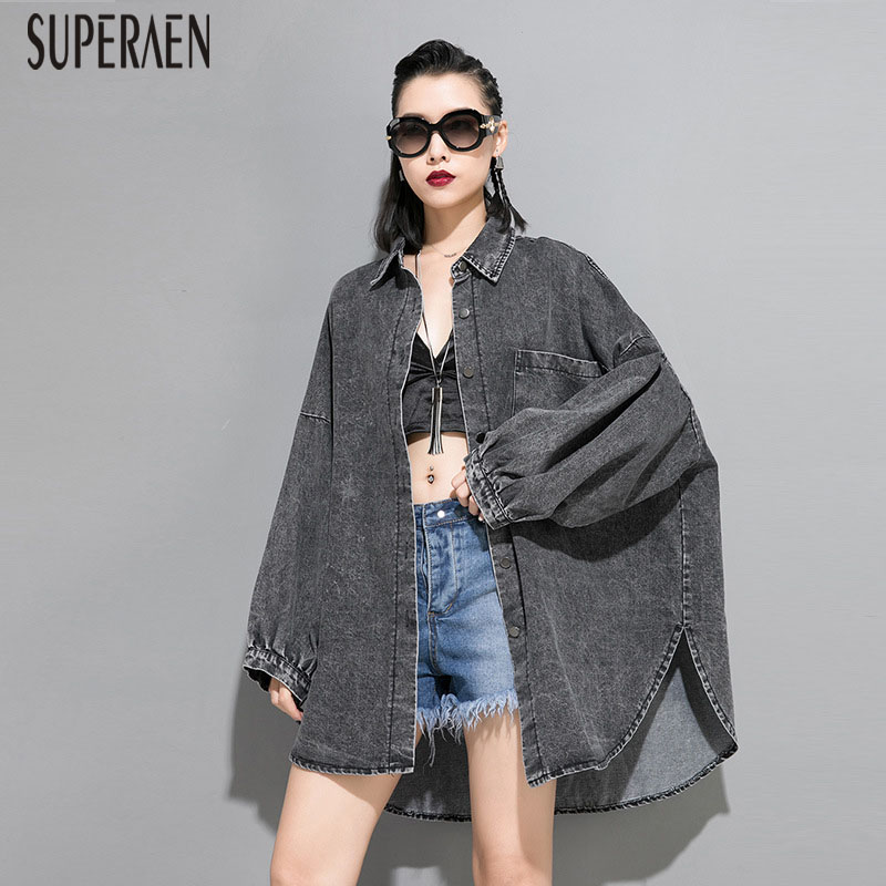 SuperAen 2019 Autumn New Women Denim Windbreaker Fashion Wild Casual   Trench   Coat for Women Pluz Size Irregular Women Clothing