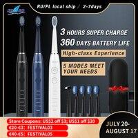 SEAGO-cepillo de dientes eléctrico sónico para adulto, resistente al agua, recargable por USB, Larga 360 días de modo de reposo, con 5 cabezales, el mejor regalo