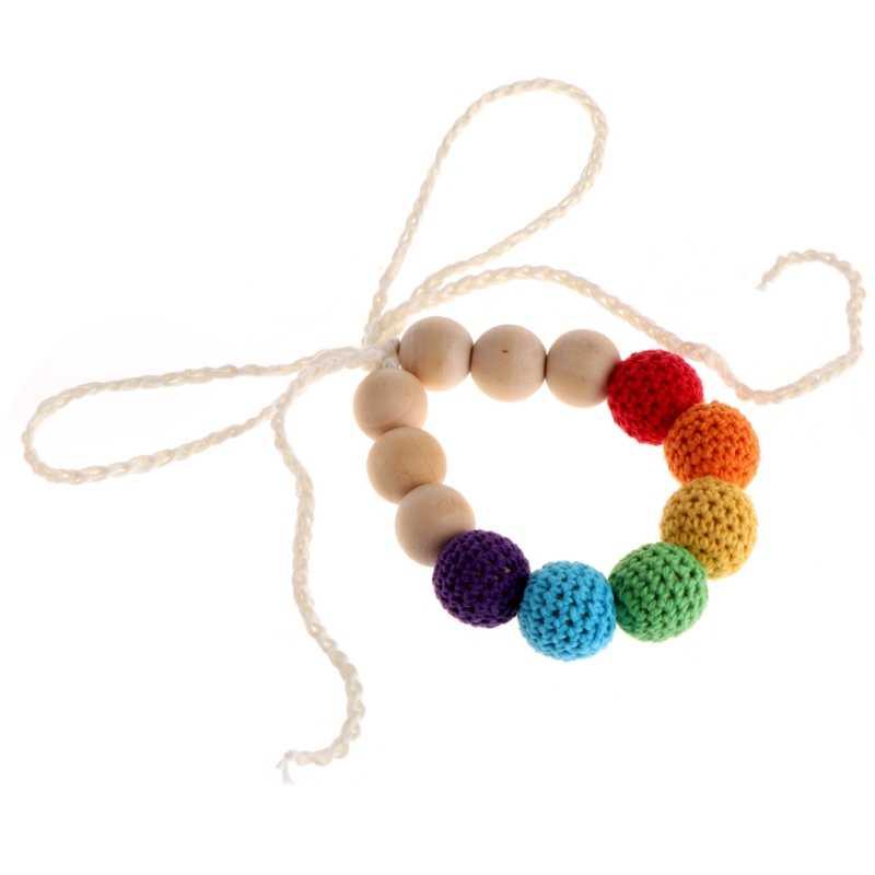Madera Crochet dentición enfermería lactancia collar Chewable joyería cuentas juguetes DXAD