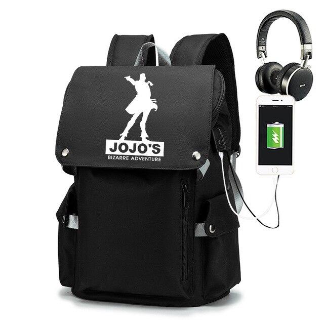 JoJo's Bizarre Adventure Kujo Jotaro Backpack School Bags for Teenage USB Charging Laptop Backpack Bookbag Travel Mochilas 2
