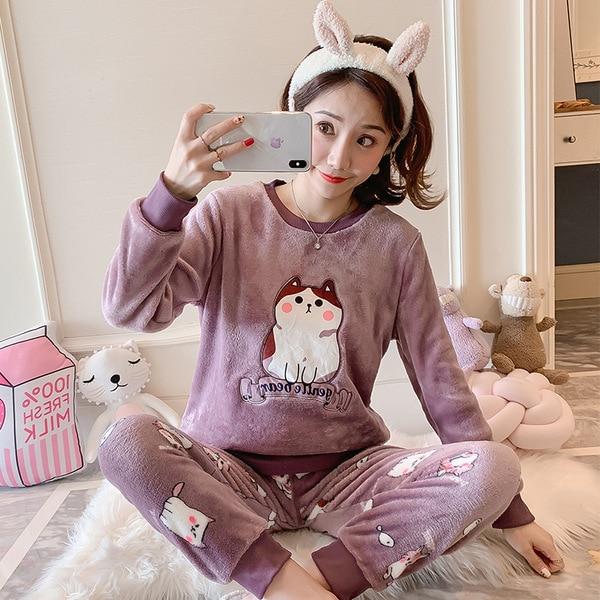 Autumn Winter Flannel Cartoon Cute Pajamas Long Sleeve Pyjamas Women Pijama Mujer Loungewear Home Clothes Sleep Set Nightwear