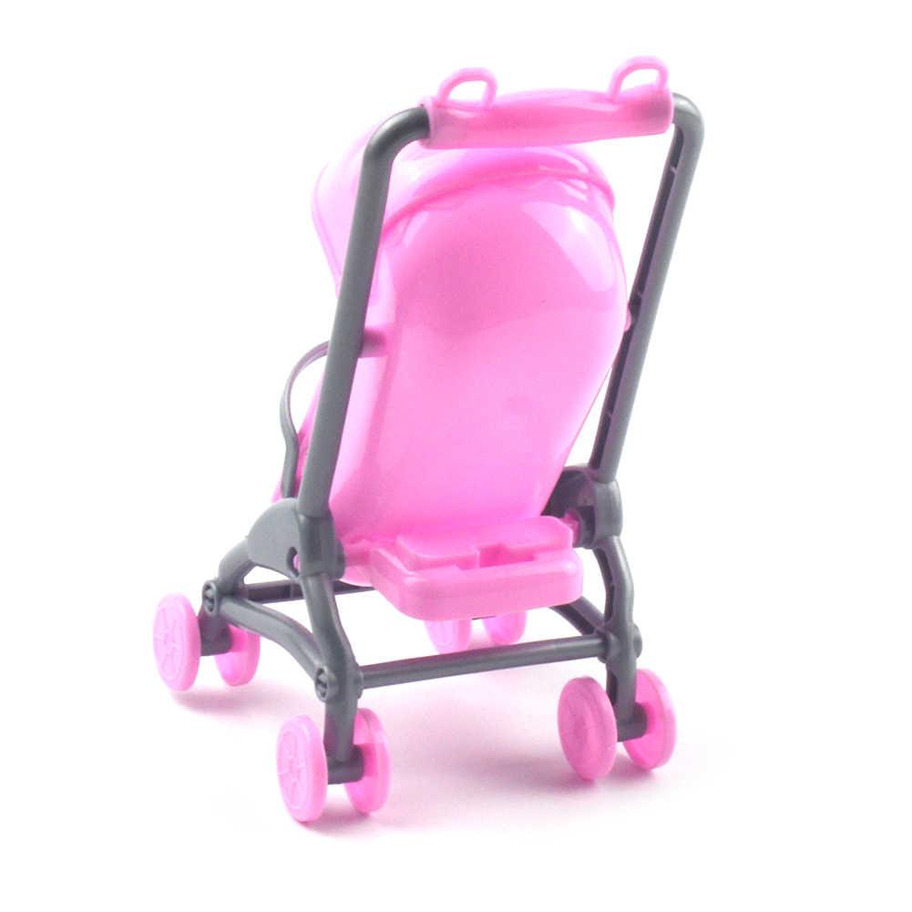 Cochecito de bebé 2 en 1 modelo de silla de bebé niños juguete DIY casa de muñecas miniatura cochecito de bebé de plástico bicicleta accesorios para automóvil de regalo para niñas