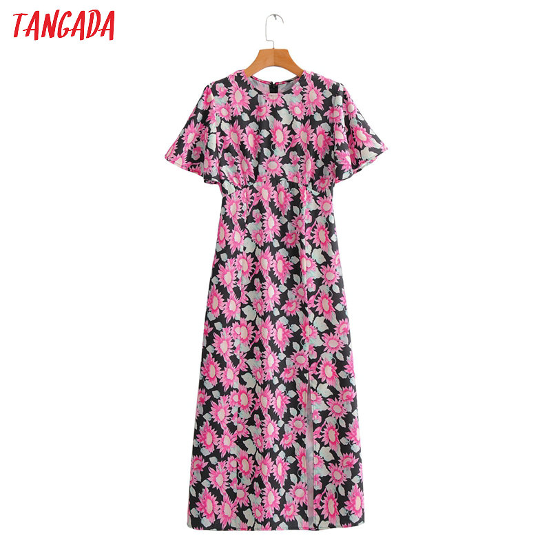 Tangada Fashion Women Pink Floral Print Maxi Dress 2020 Summer Short Sleeve Female Beach Dress Vestidos 2F61