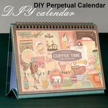 Sharkbang-Calendario de escritorio Vintage, Agenda Retro artesanal, calendario de mesa con pegatinas gratis, papelería escolar, novedad