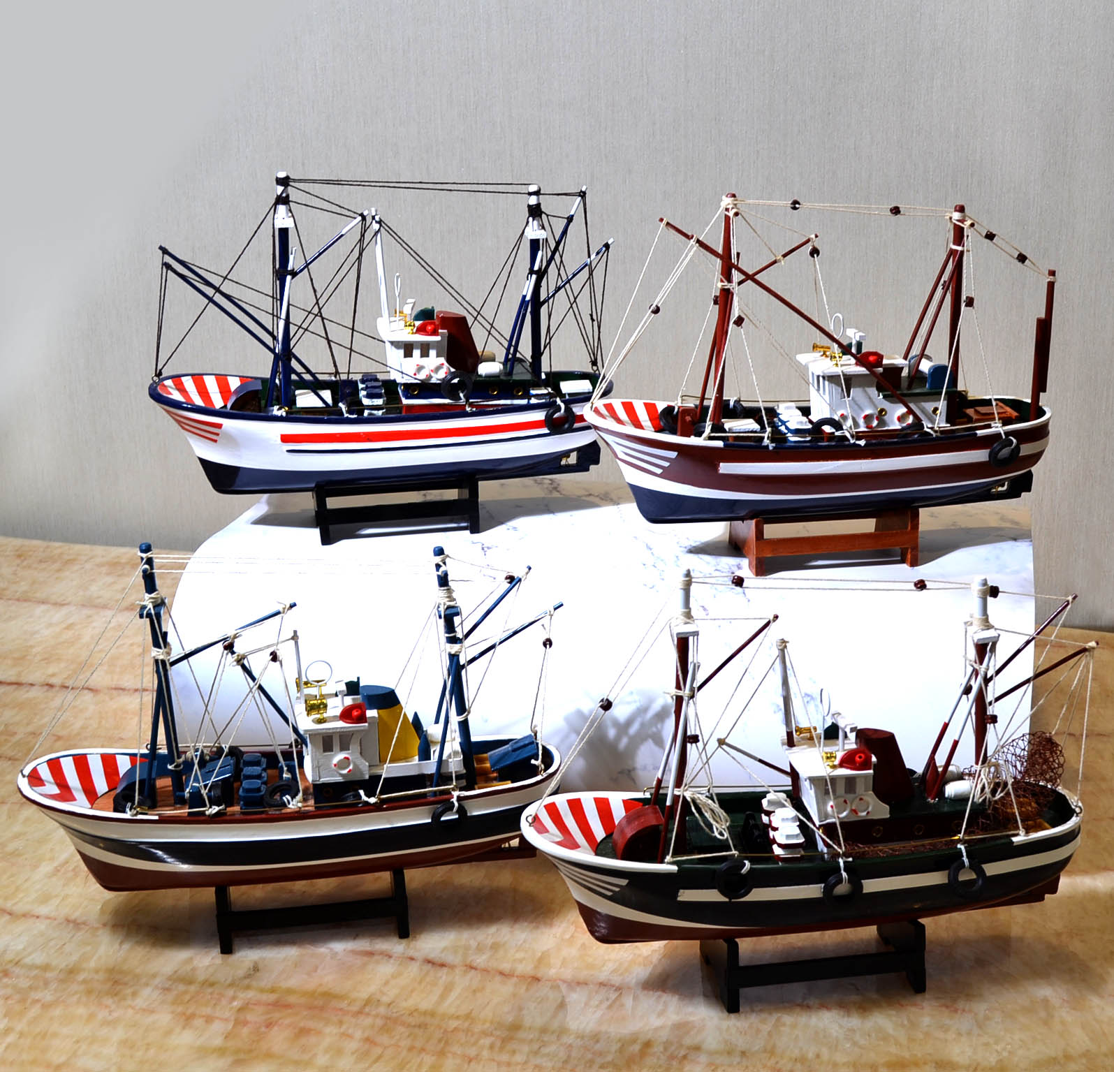 Style méditerranéen décoration de la maison bateau modèle en bois massif chambre d'enfants meublé avec voile lisse bateau de pêche bateau artisanal - 2