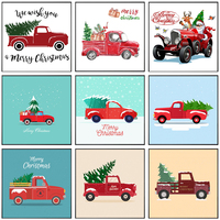 Weihnachten Cartoon Kunst Lkw mit Baum Santa Claus Poster und Drucke Leinwand Gemälde Wand Kunst Bilder für Wohnzimmer Decor